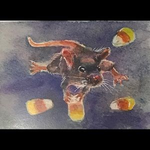Mouse Candy corn Mice holiday art listed by artist